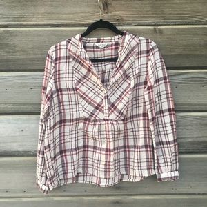 Lucky Brand - Bib Front Button Down Flannel Top